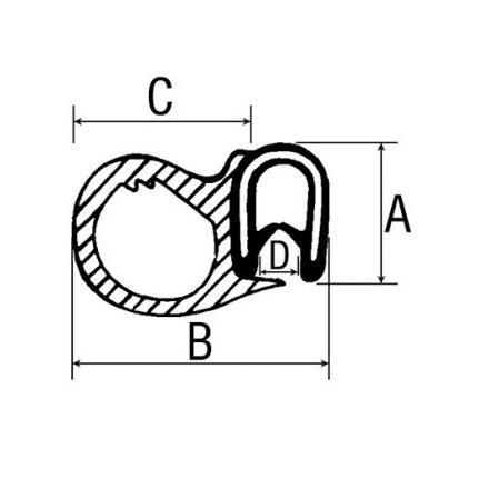 001497920 Ajtószigetelő gumi 5Méter
